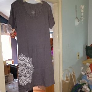 Heather Grey Medallion Shirt-Dress